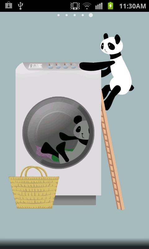 Panda washing Live Wallpaper - screenshot