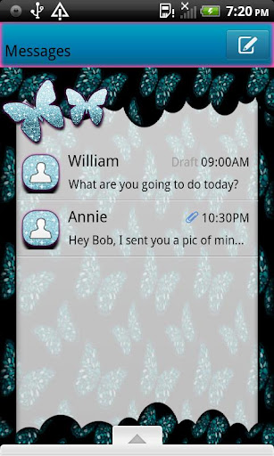 GO SMS THEME ButterflysRFree3