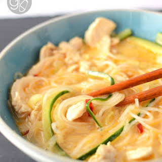 Lemongrass Noodle Soup with Cucumber & Chicken.