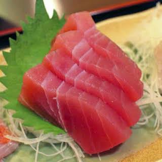 Tuna Sashimi with Daikon and Ginger.