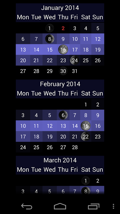 LunarLight Moonlight Calendar - screenshot