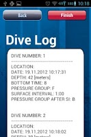 Screenshot of Dive Plan