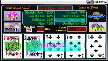Screenshot of Jacks or Better Poker