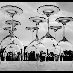 Pre wine tasting.. by Bill Morris - Black & White Objects & Still Life ( sky, glasses, wine glass, table, winery )