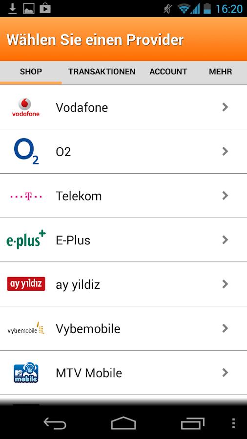 Aufladen - Guthaben App- screenshot