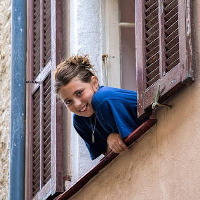 looking at you by Vibeke Friis - People Street & Candids ( girls, window, saint jeannet, france, looking up, in window, shutters, smiling )
