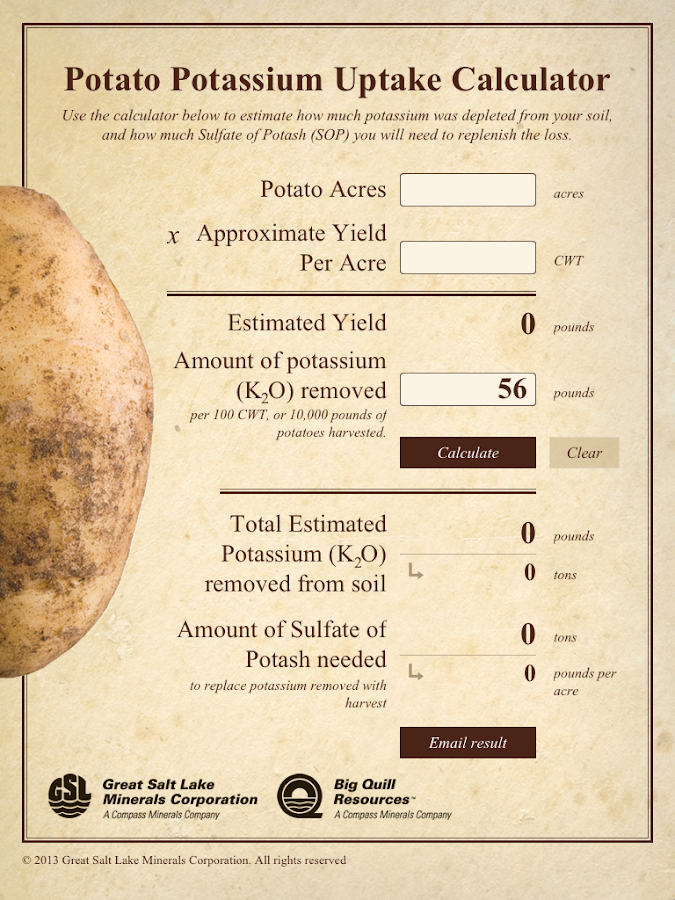 Potato Potassium Calculator - screenshot
