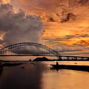 Rumpiang bridge by Joel  Pangoe Rihingan - Landscapes Sunsets & Sunrises ( color, colors, landscape, portrait, object, filter forge )