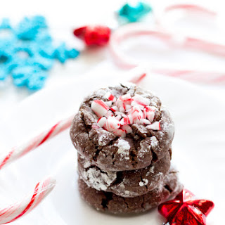 Chocolate Candy Cane Gooey Butter Cookies