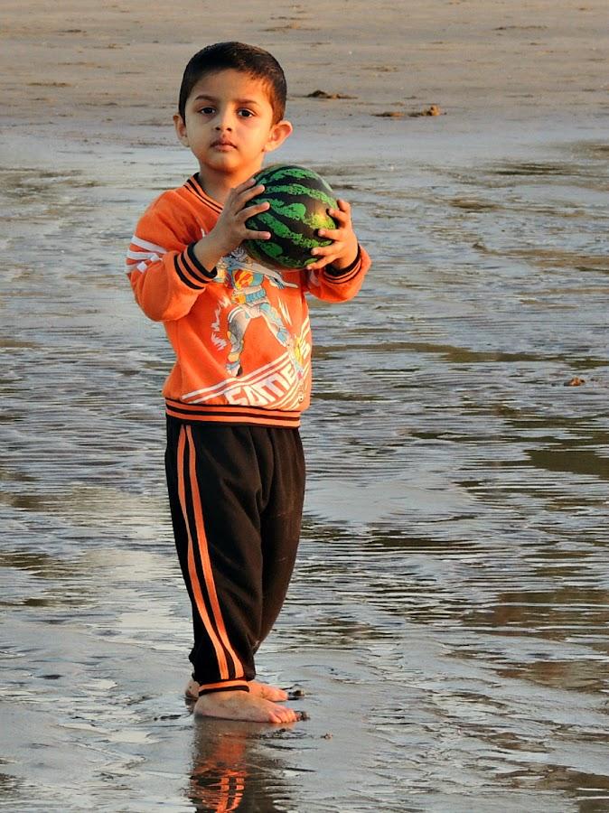 Beach Boy 2 by Tamsin Carlisle - Babies & Children Children Candids ( shore, child, water, ball, muscat, oman, hold, sea, beach, boy,  )