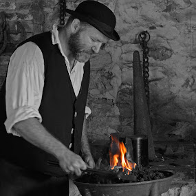 Local Blacksmith by Michelle Nolan - People Street & Candids ( blacksmith, thadeous stevens, pa, black and white, reenactor, selective color, pwc,  )