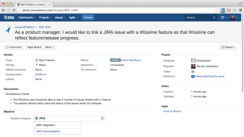 Wizeline-prioritized features in JIRA