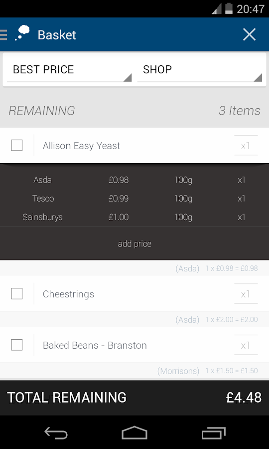Price Reminder (Shopping List) - screenshot