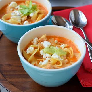Crock Pot Creamy Buffalo Chicken Noodle Soup.