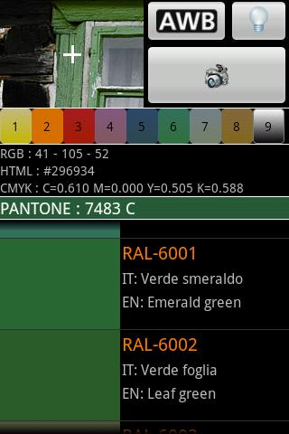 Color detector for RAL PANTONE - screenshot