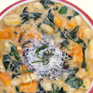 Creamy Gnocchi with Butternut Squash and Spinach.