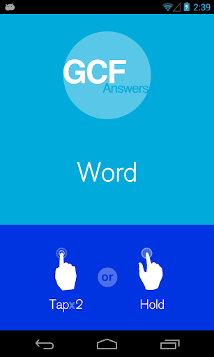 GCF Answers for Word