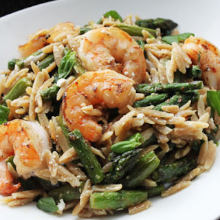 Skillet Shrimp with Orzo, Feta and Asparagus