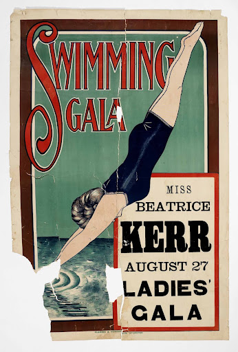 Swimming Gala poster featuring Beatrice Kerr