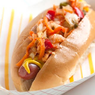 Hot Dogs with Kimchi Relish.