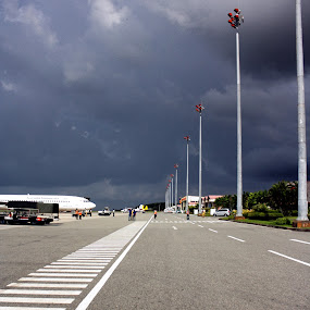 bandara by Rully Kustiwa - City,  Street & Park  Street Scenes ( clouds, airport, airplanes, lines,  )