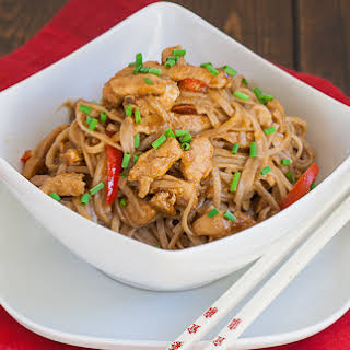 Spicy Peanut and Chicken Soba Noodles.