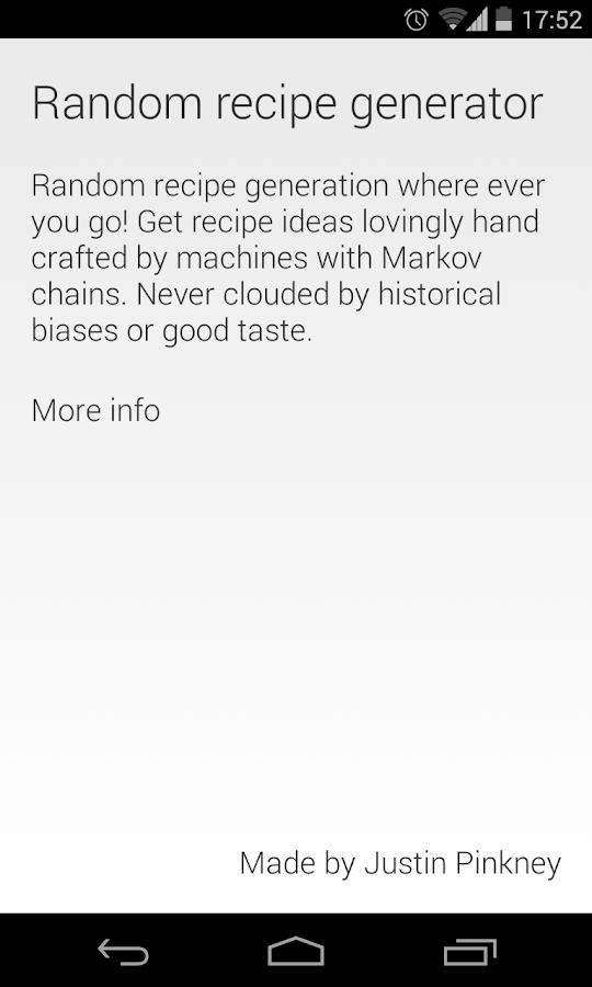 Random Recipe Generator - screenshot