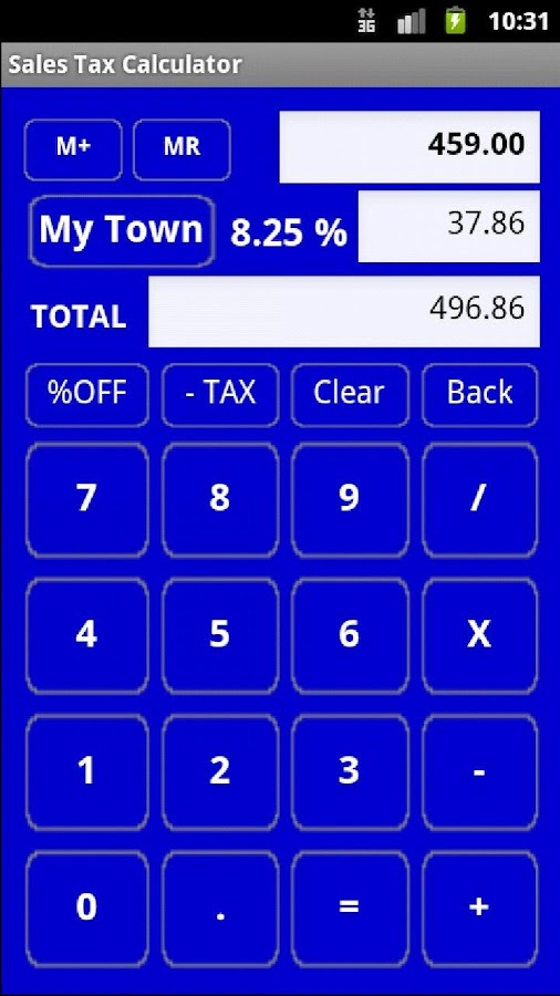 Sales Tax Discount Calculator - screenshot