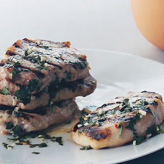 Grilled Pork Chops with Garlic Lime Sauce.