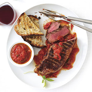 Grilled New York Steaks with San Marzano Sauce