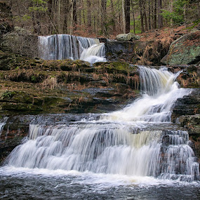 Upper and Lower Factory Falls by Jim Salvas - Landscapes Waterscapes