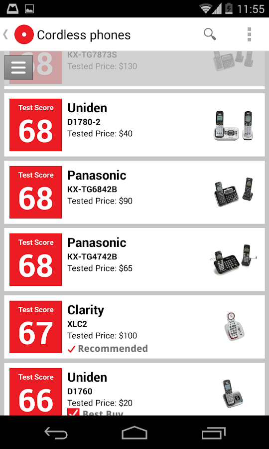 Ratings by Consumer Reports - screenshot