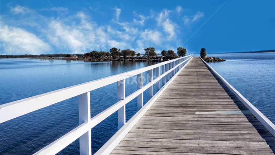 Australind by Loredana  Smith - Landscapes Waterscapes ( water, clouds, peaceful, freedom, scenic, beauty, downunder, landscape, inspiring, free, vacation, midday, sky, inspiration, nature, relaxed, peace, australia, outdoor, trees, scene, view, inlet, natural, path )