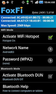 FoxFi (WiFi Tether sin root) Captura de pantalla