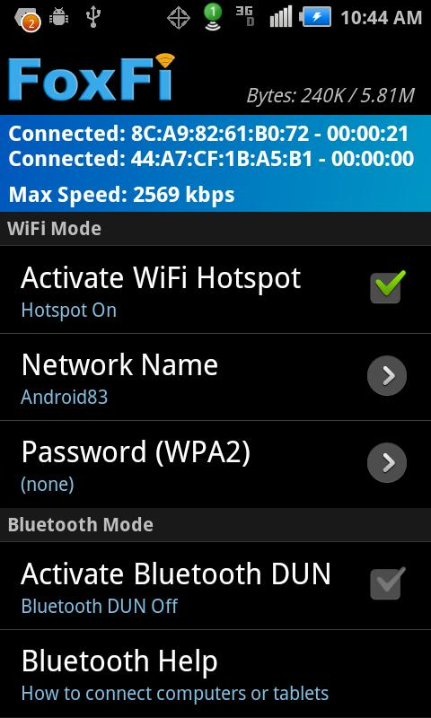 FoxFi (WiFi Tether w/o Root) - screenshot