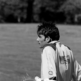 Waiting his turn by Gaz Haywood - Black & White Street & Candid ( pakistani, cricket, summer, indian, candid, portrait, man )