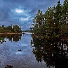 Loch an Eilen by Jacek Steplewski - Landscapes Waterscapes ( clouds, water, scotland, water reflection, waterscape, reflections, trees, forest, lake, landscape,  )