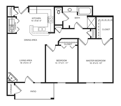 moonlight floorplan  2 bed  1 bath