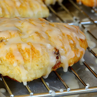 Scones with Golden Raisins and Tropical Glaze