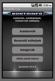 Bontóinfó, Autóbontók - screenshot thumbnail
