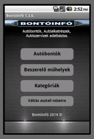 Bontóinfó, Autóbontók - screenshot