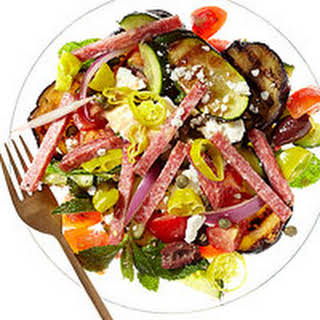 Greek Salad with Salami Vinaigrette.