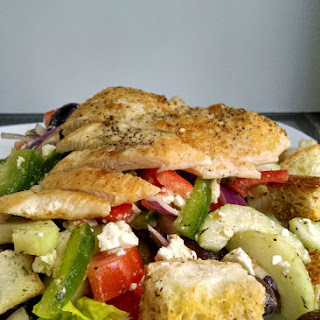 Greek Panzanella with Pan Seared Chicken.