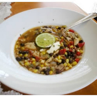 Chicken Soup With Black Beans and Corn.