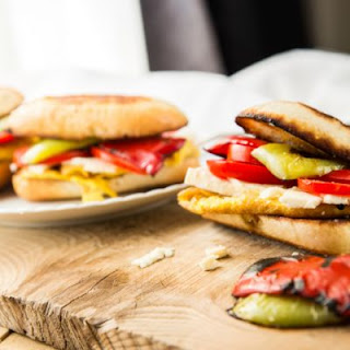 Roasted Bell Pepper and Tomato Veggie Sandwich