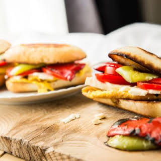 Roasted Bell Pepper and Tomato Veggie Sandwich.