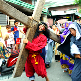 senakulo by Jun Pinzon - People Street & Candids ( rizal, christian, death, cainta, filipino, senakulo, religion, reenactment, catholic, jesus, crucifixion, tradition, christ, asia, jew, actors, penitence, roman, manila, philippines, crown of thorns, penitents, culture, cross )