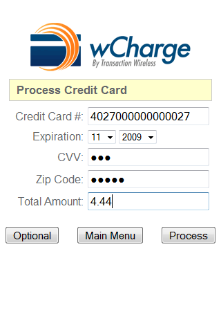 wCharge Credit Card Terminal - screenshot