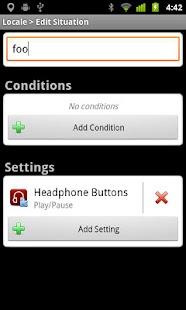 Locale/Tasker Headphone Button- screenshot thumbnail