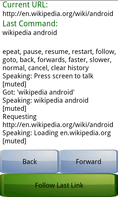 Speech Web Browser - screenshot
